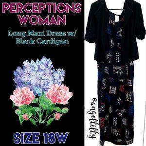 Perceptions Woman Maxi Dress w/ Black Cardigan